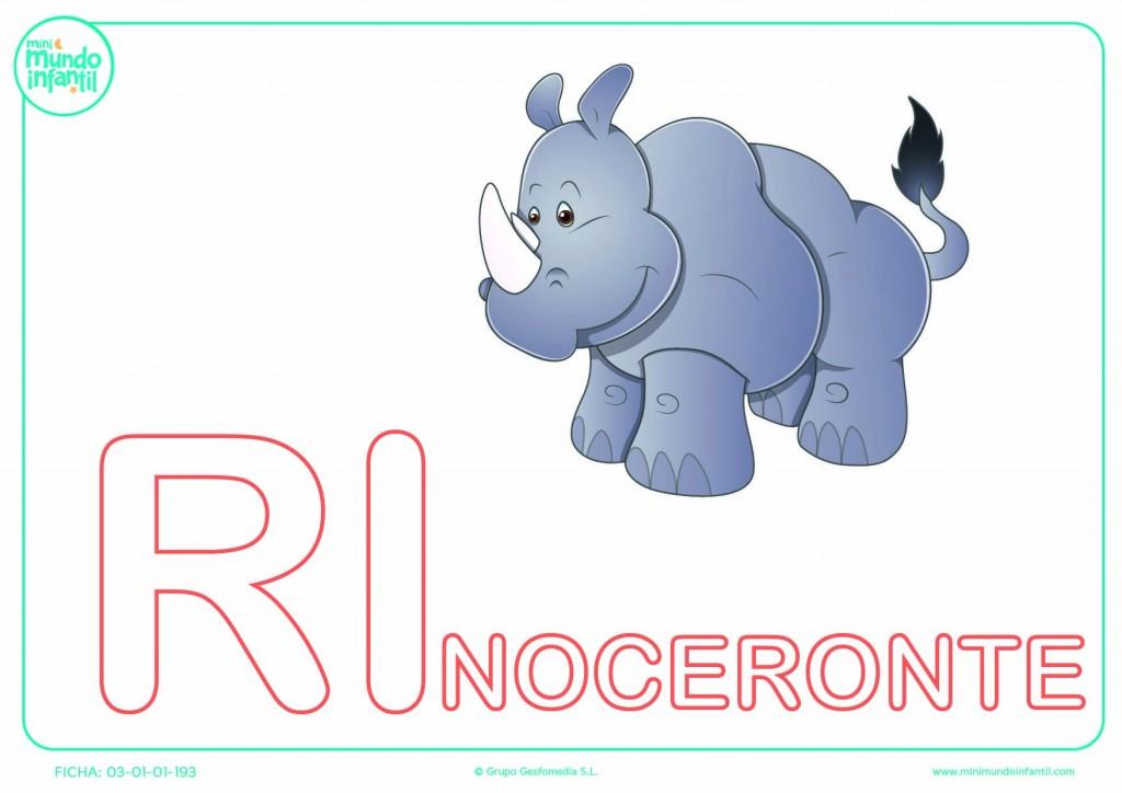 Sílaba RI mayúscula de rinoceronte para rellenar