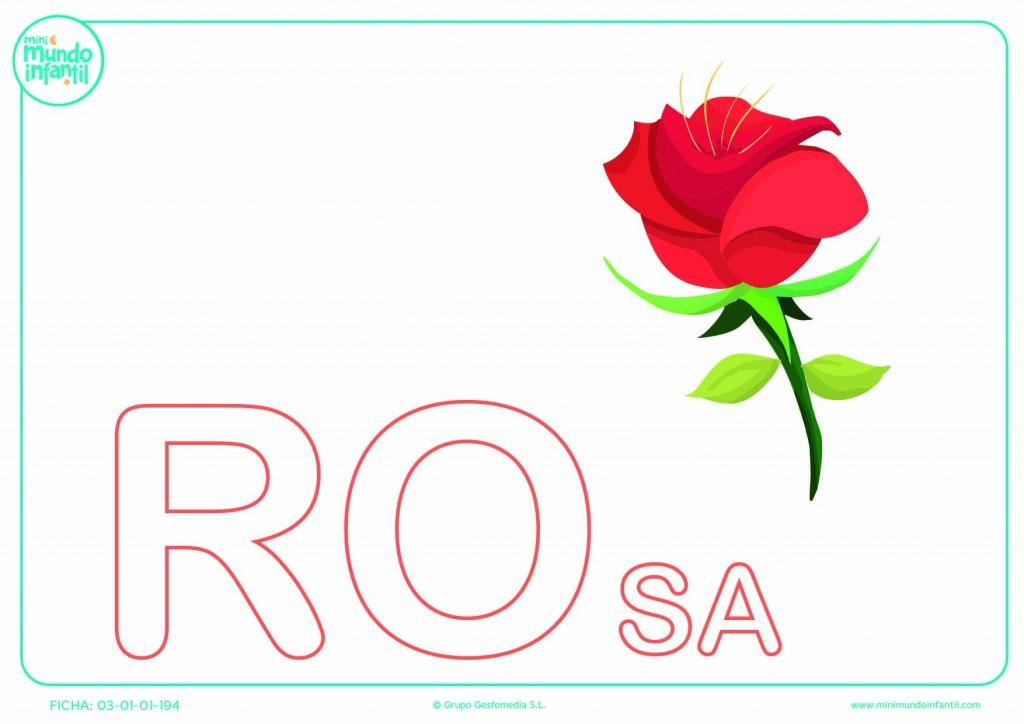Sílaba RO mayúscula de rosa para poner color