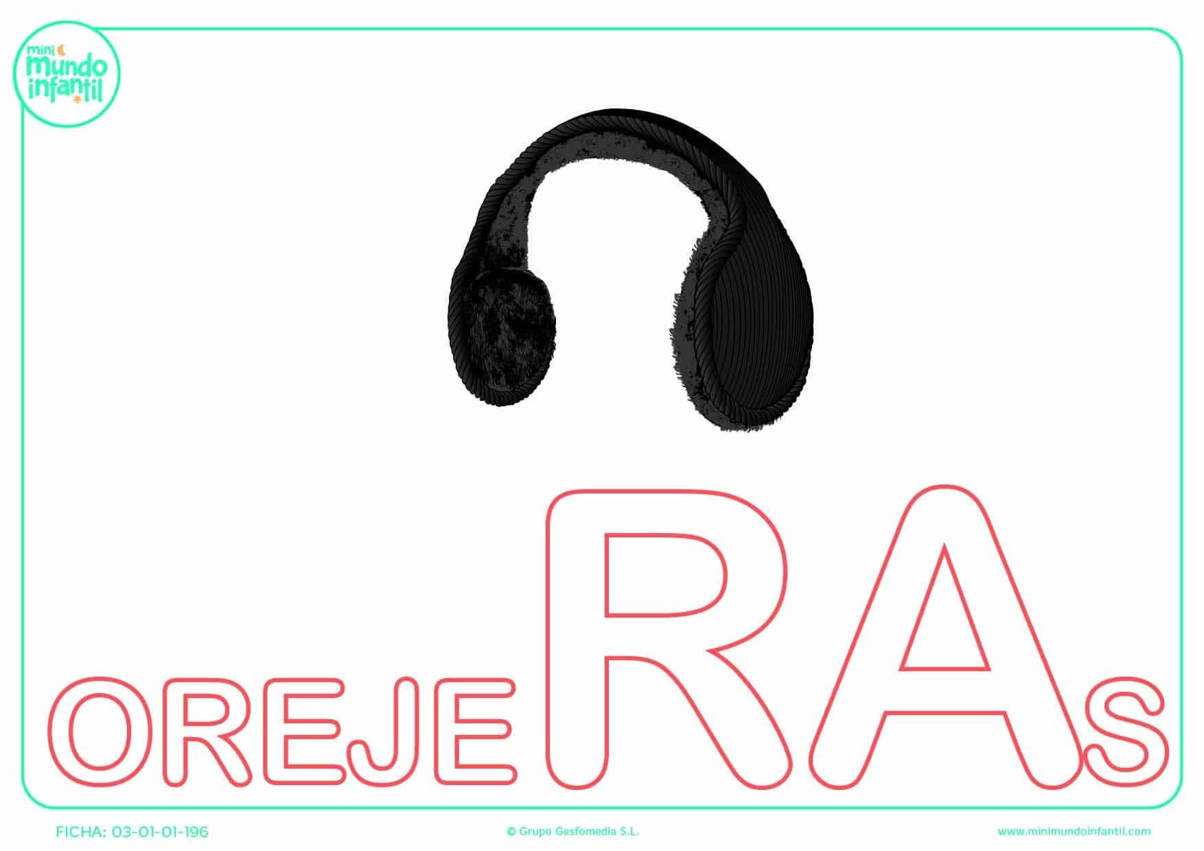 Completar la sílaba RA de orejeras en mayúsculas
