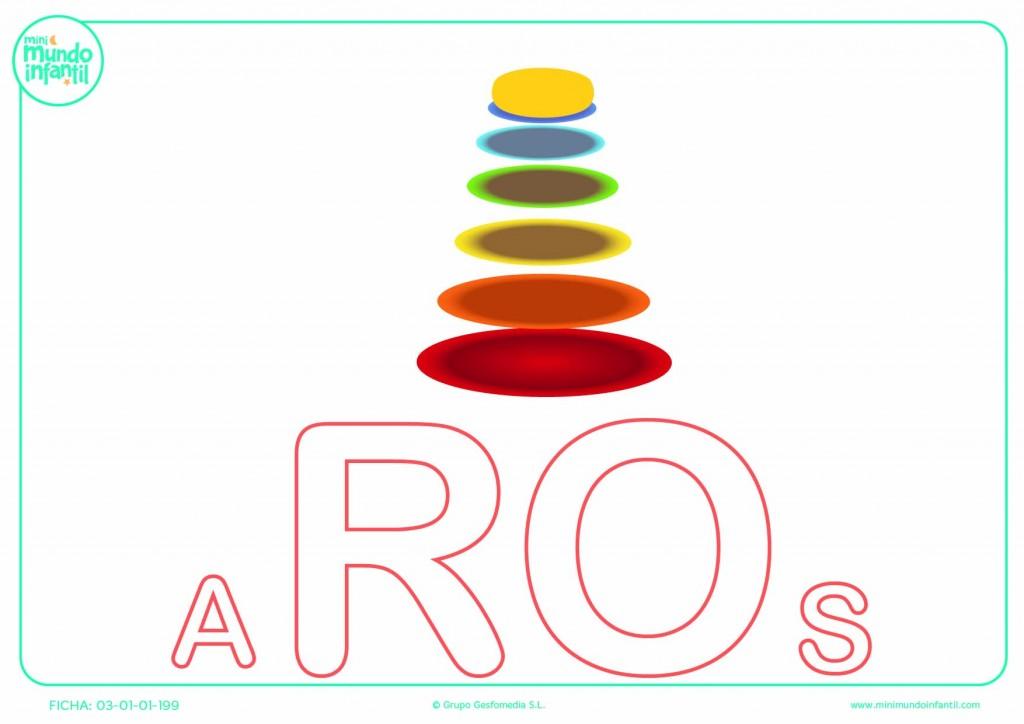 Colorear la sílaba RO de aros en mayúsculas
