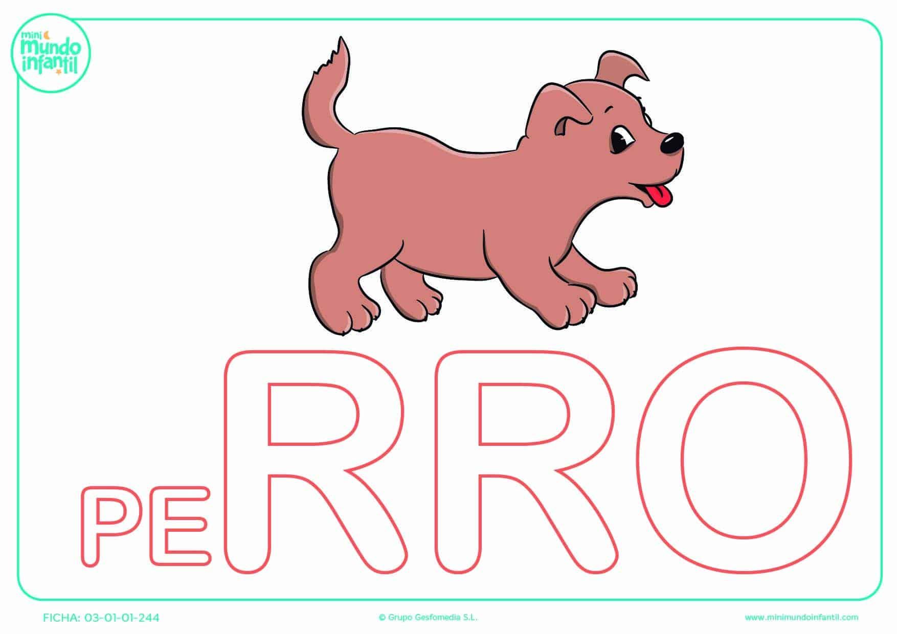 Sílaba RRO de perro en mayúsculas para poner color