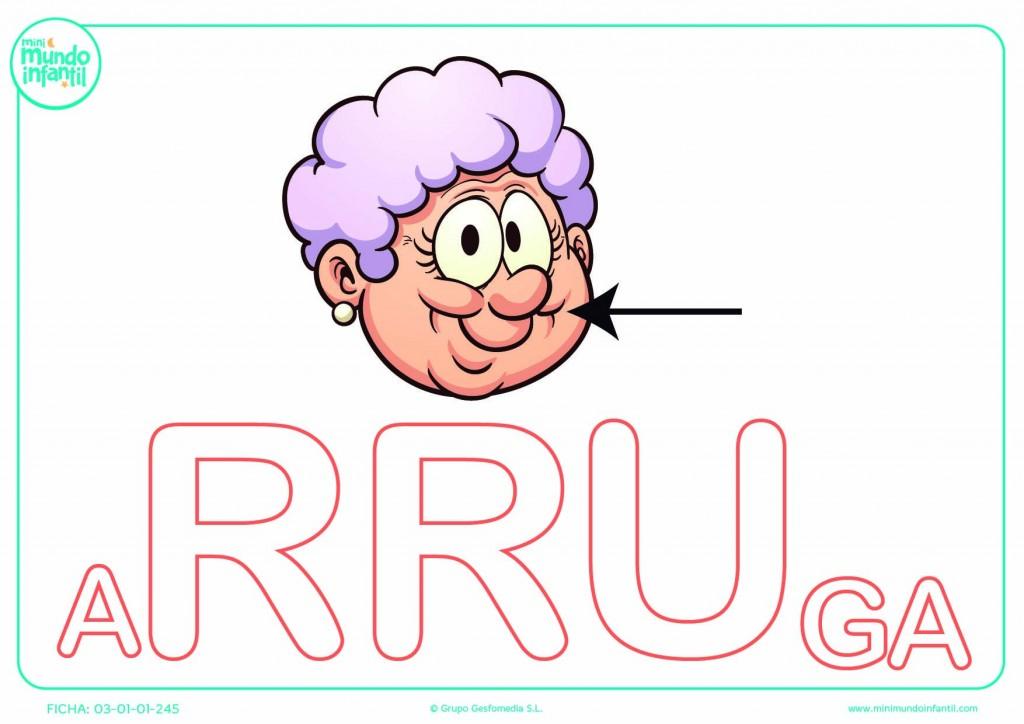 Sílaba RRU de arruga en mayúsculas para completar