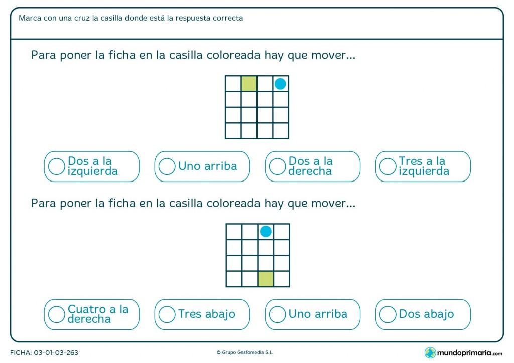 Ficha de contar posiciones para niños de 6 y 7 años