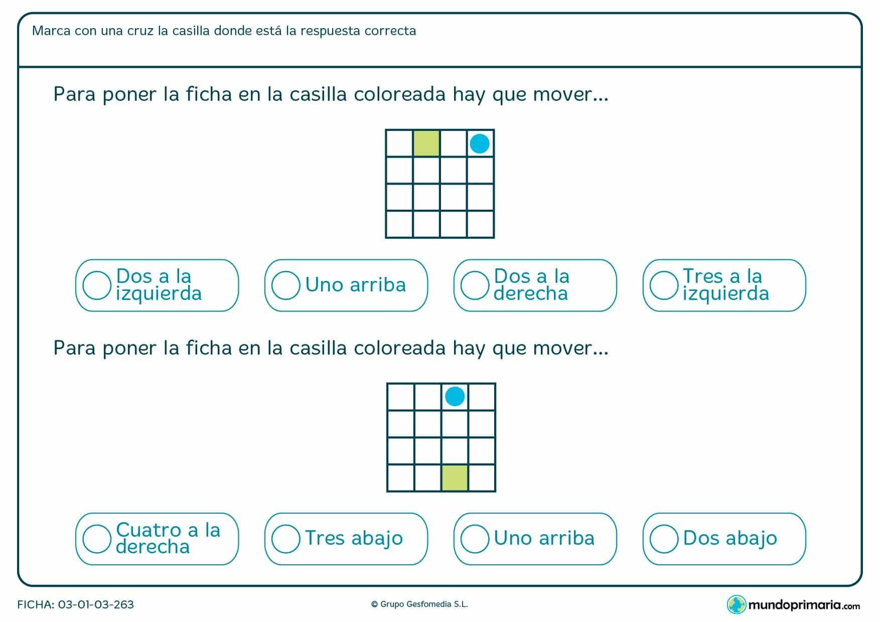 Observa los cuadrados de esta ficha, cuenta las posiciones y marca la respuesta que corresponda.