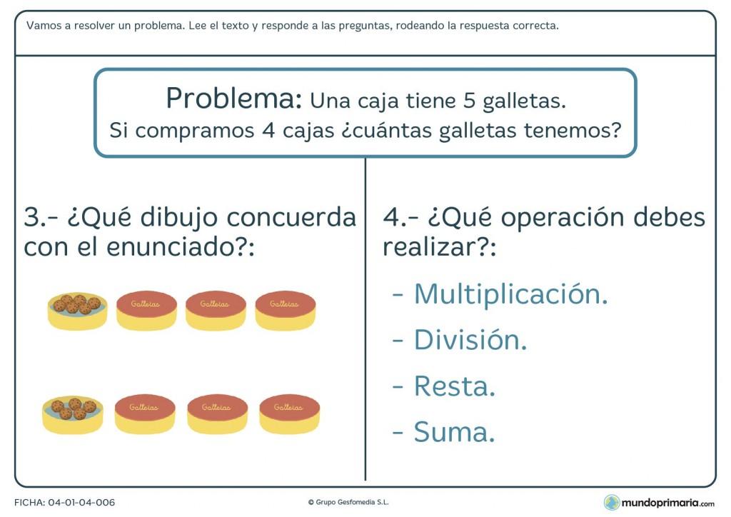 Ficha de rodear la respuesta correcta de un problema de cálculo para primaria