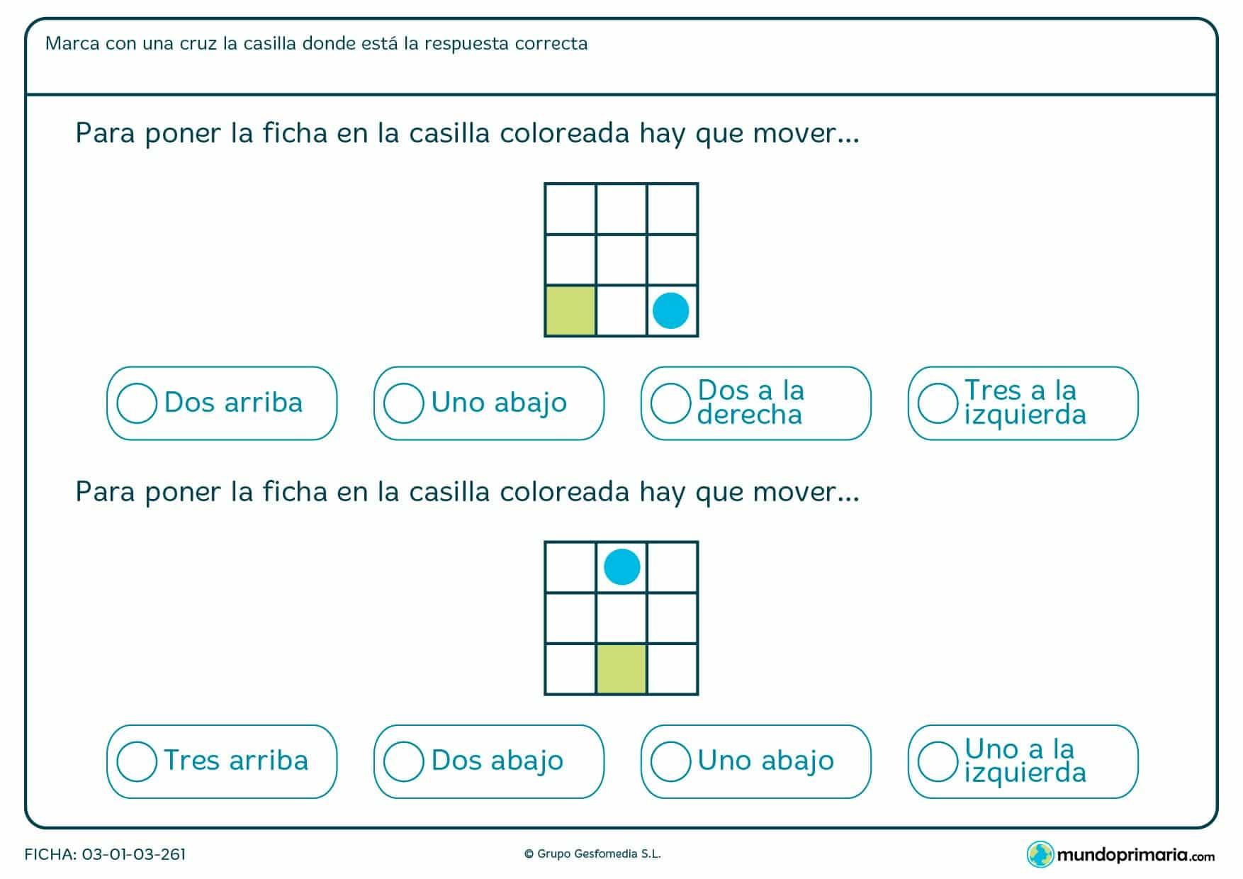Marca la casilla que corresponda con las posiciones que hay que desplazar la ficha azul para que llegue a su posición de destino.