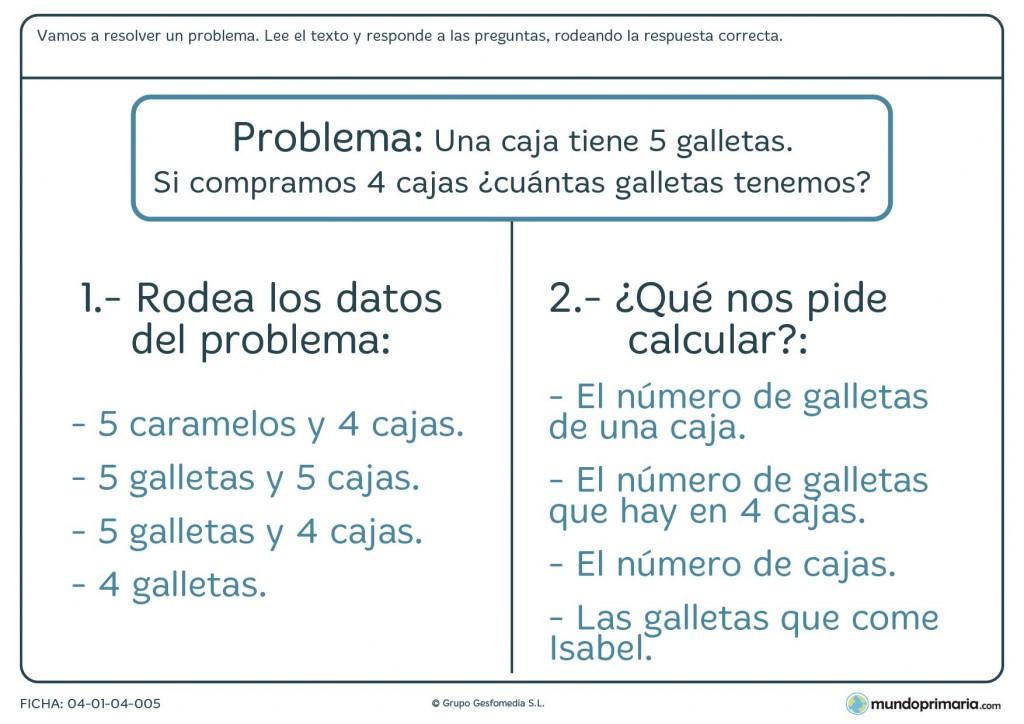 Ficha de responder cuestiones sobre el planteamiento de un problema de cálculo para primaria