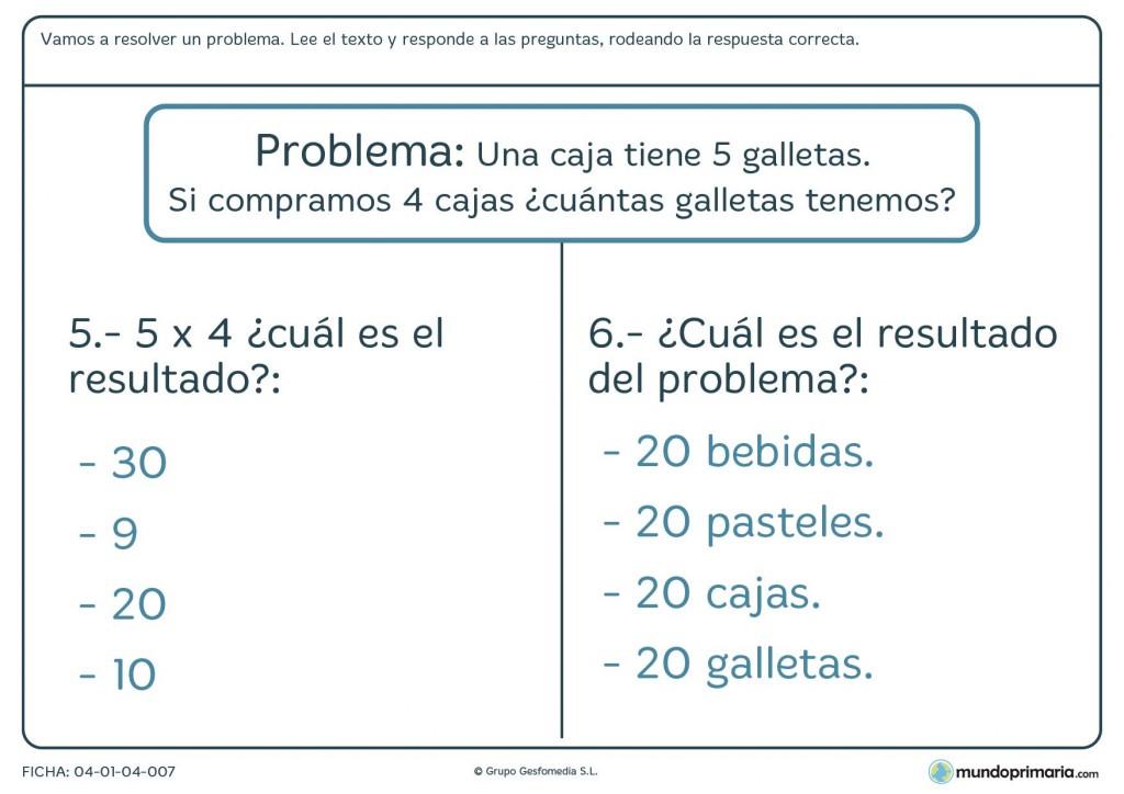 Ficha de problema de cálculo matemático para primaria