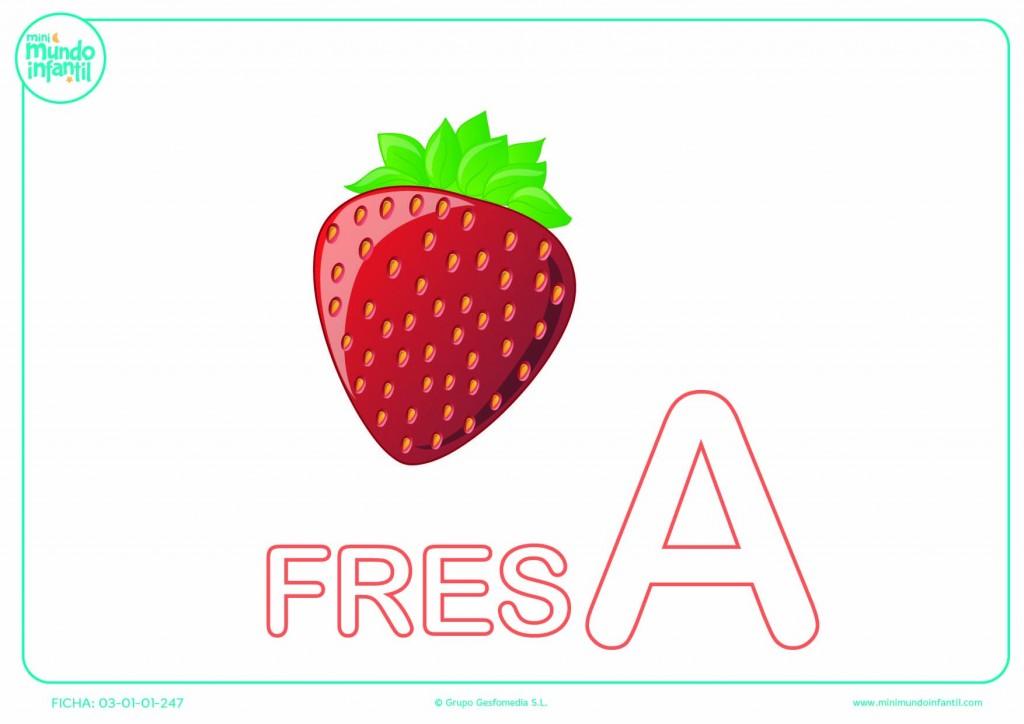 Letra A mayúscula de fresa para colorear