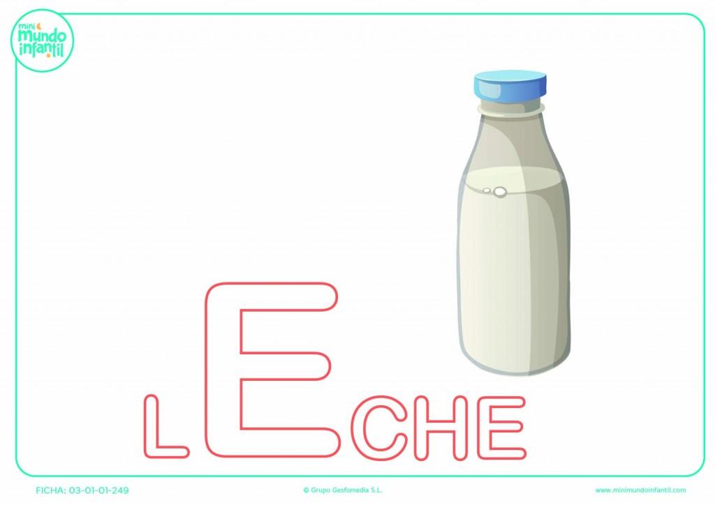 Letra E mayúscula de leche para pintar