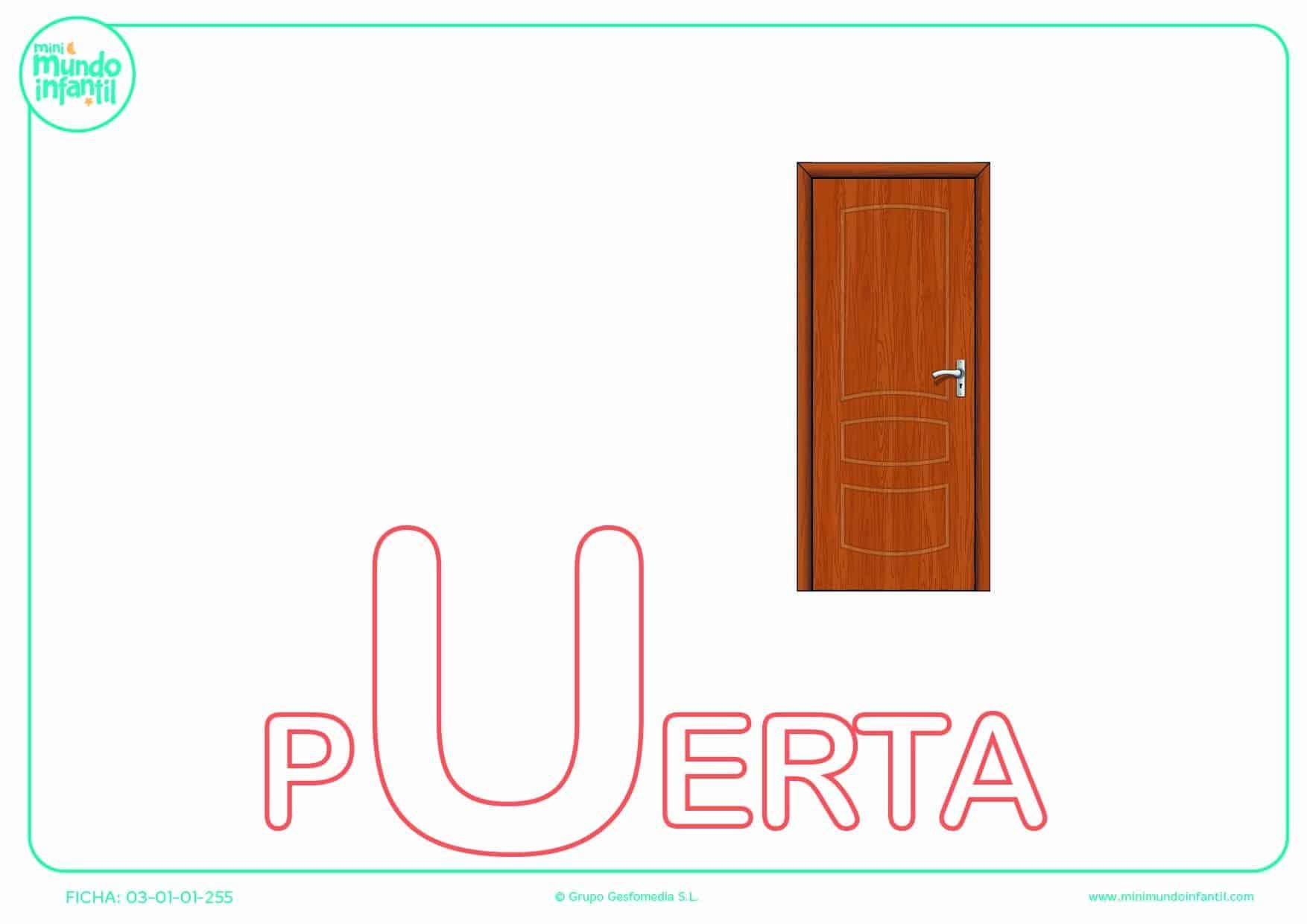Letra U mayúscula de puerta para poner color