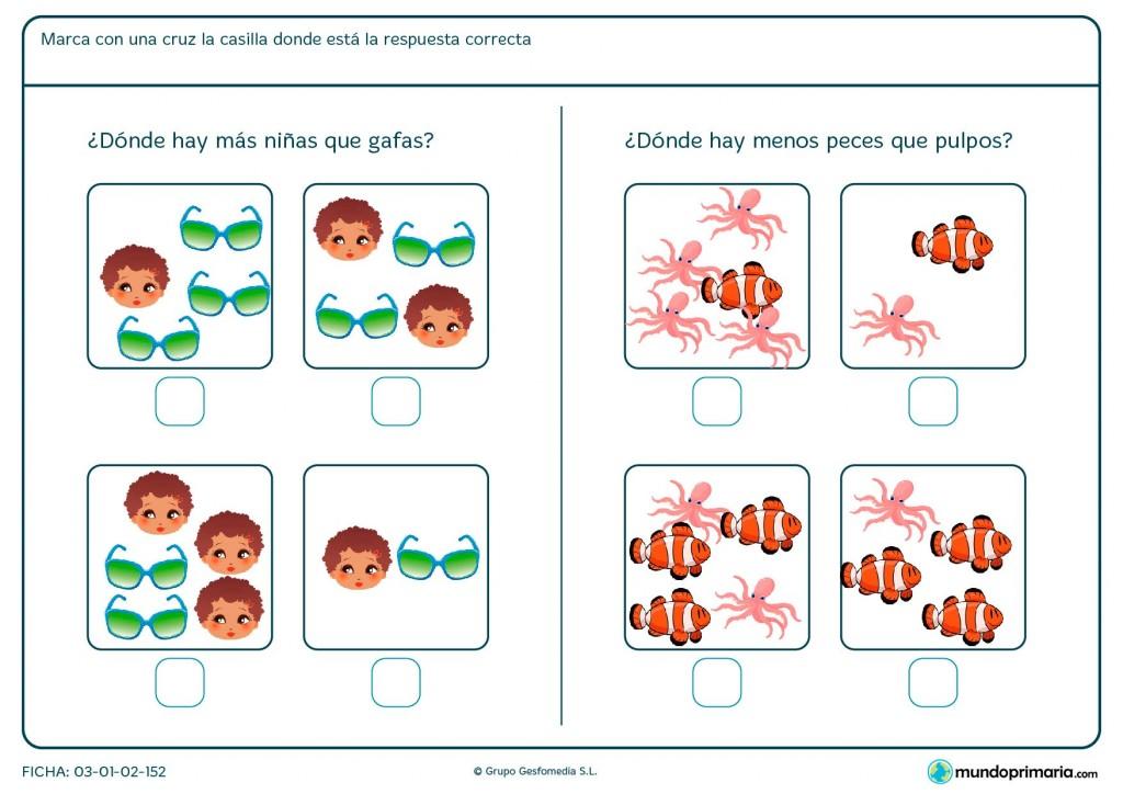Ficha de comparaciones de grupos de imágenes para Primaria