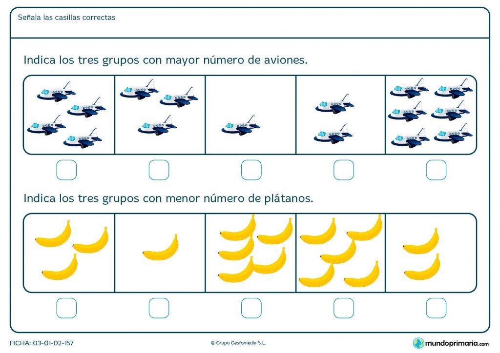 Ficha de identificar los grupos de imágenes para niños de Primaria