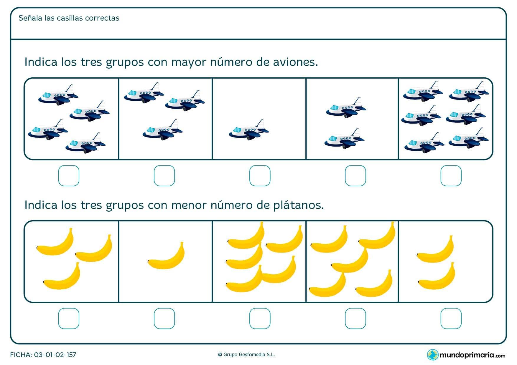 Indica los tres grupos de imágenes que tienen más o menos número de objetos. Lee la pregunta con atención y responde.