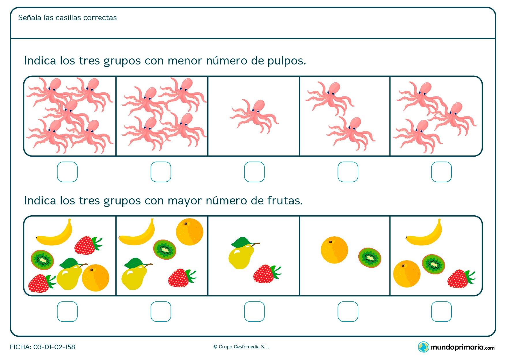 Indica los tres grupos de imágenes con mayor o menos número de pulpos o frutas, dependiendo de la pregunta.