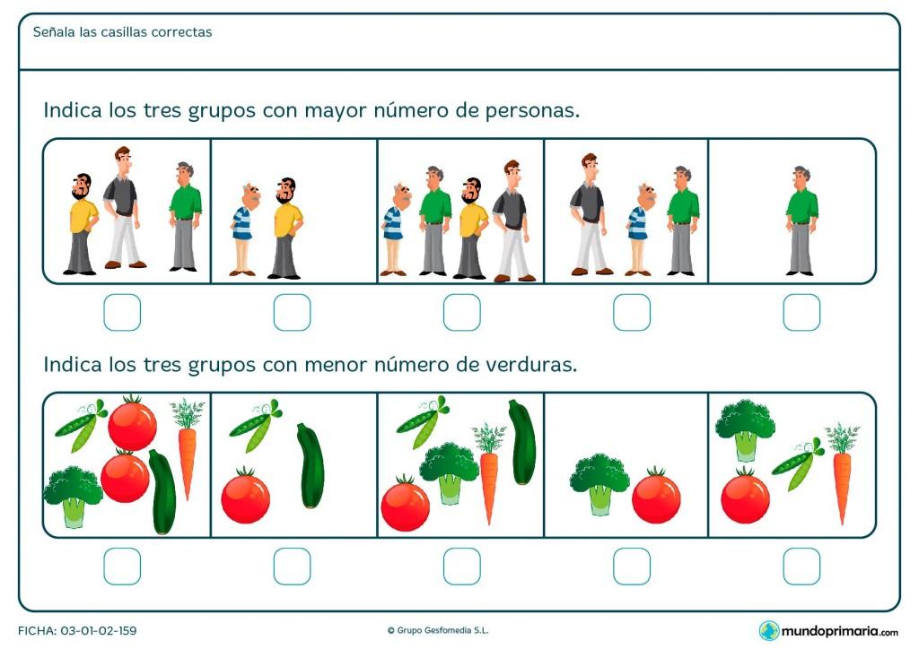 Ficha de elegir el dibujo con más o menos objetos para Primaria