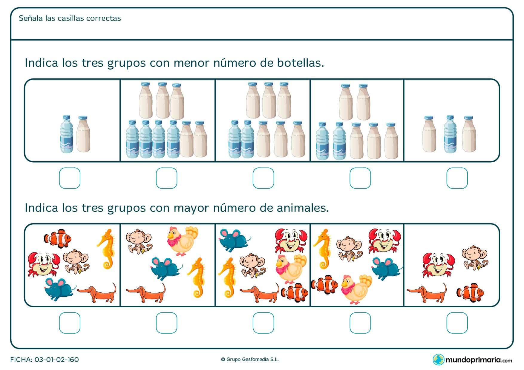 ¿En qué grupo de imágenes hay menos botellas? ¿Y en cuál de ellos hay más animales? Fíjate bien y responde con una cruz.