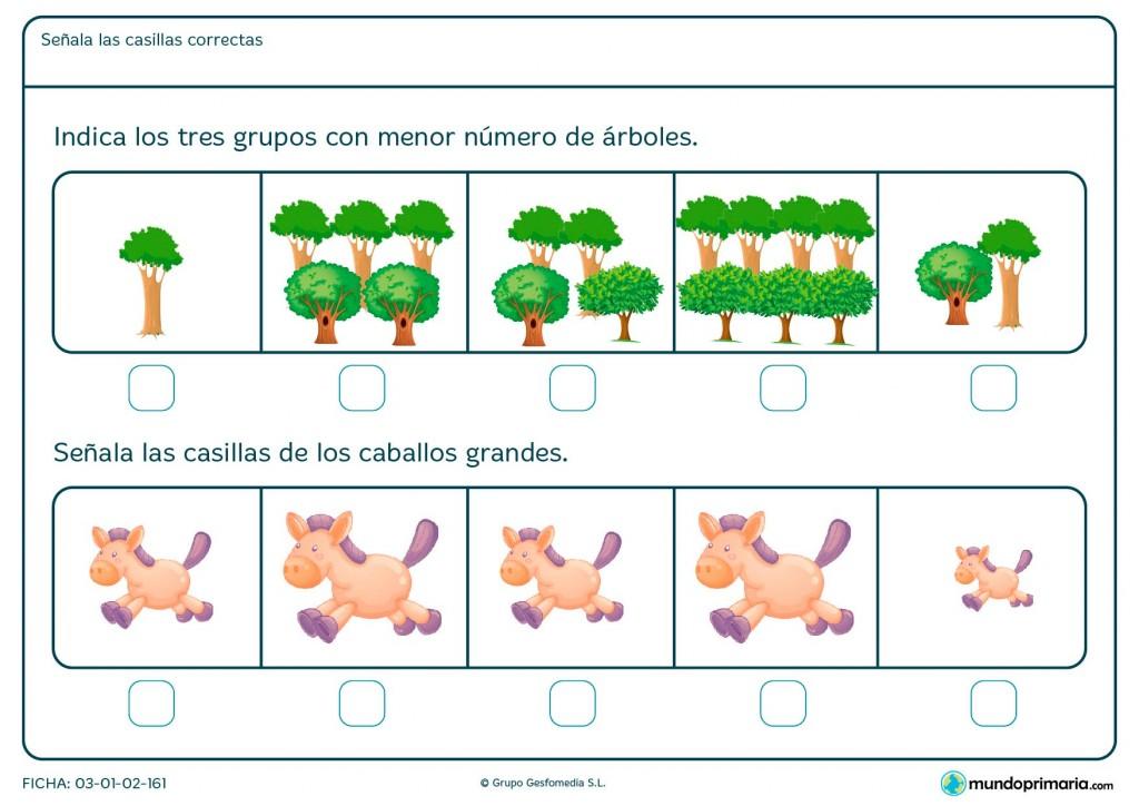 Ficha de comparaciones entre distintas imágenes para niños de Primaria