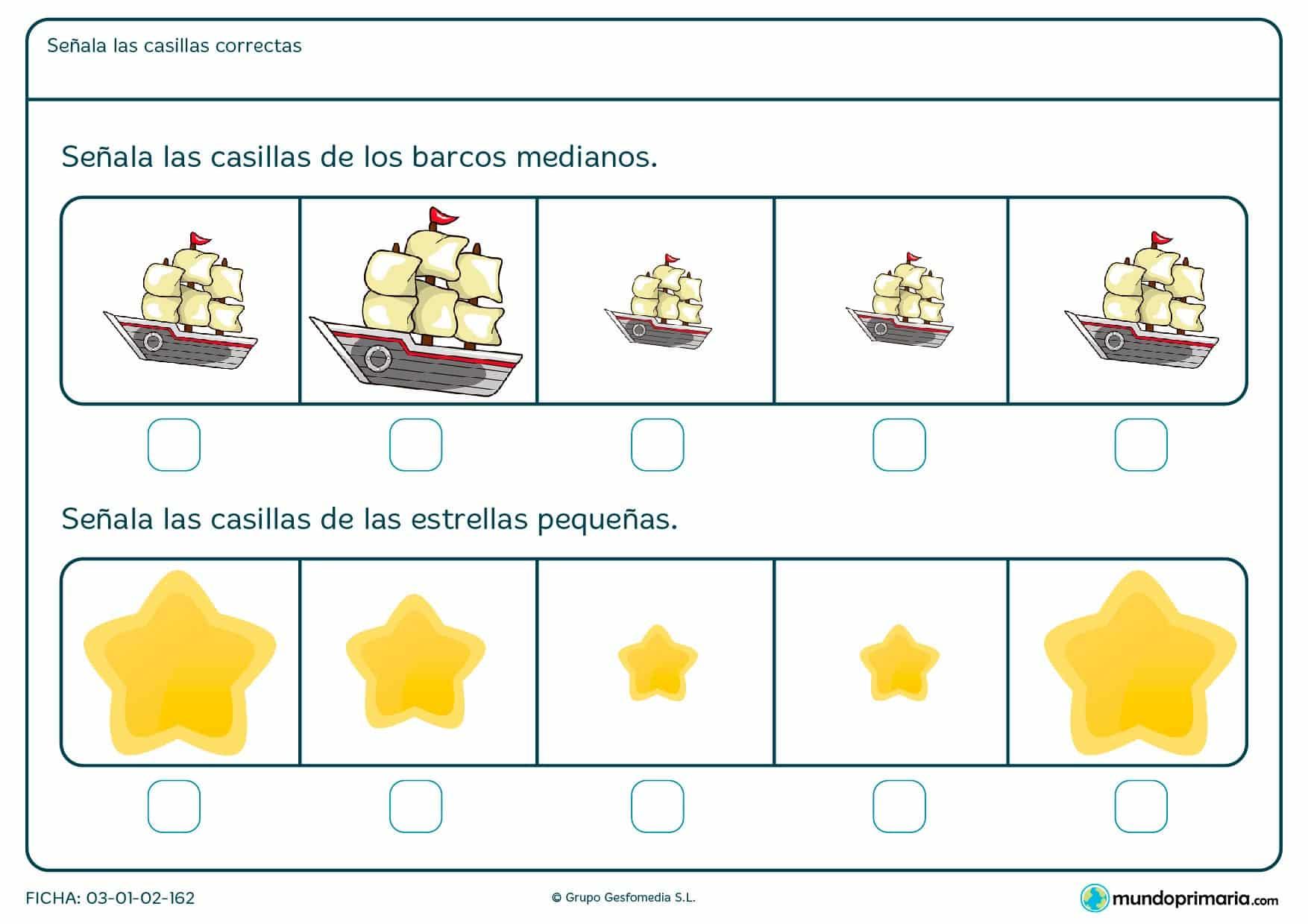 ¿Qué estrellas son más pequeñas? ¿Qué barcos son los medianos? Compara las imágenes y señala las respuestas.