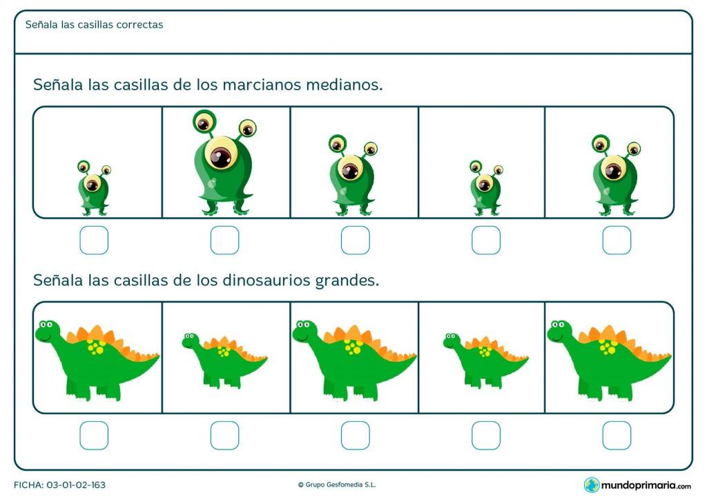 Ficha de comparación de tamaño de imágenes para 1º de Primaria