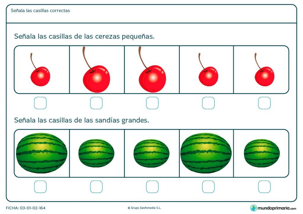 Ficha de comparar tamaños de frutas para Primaria