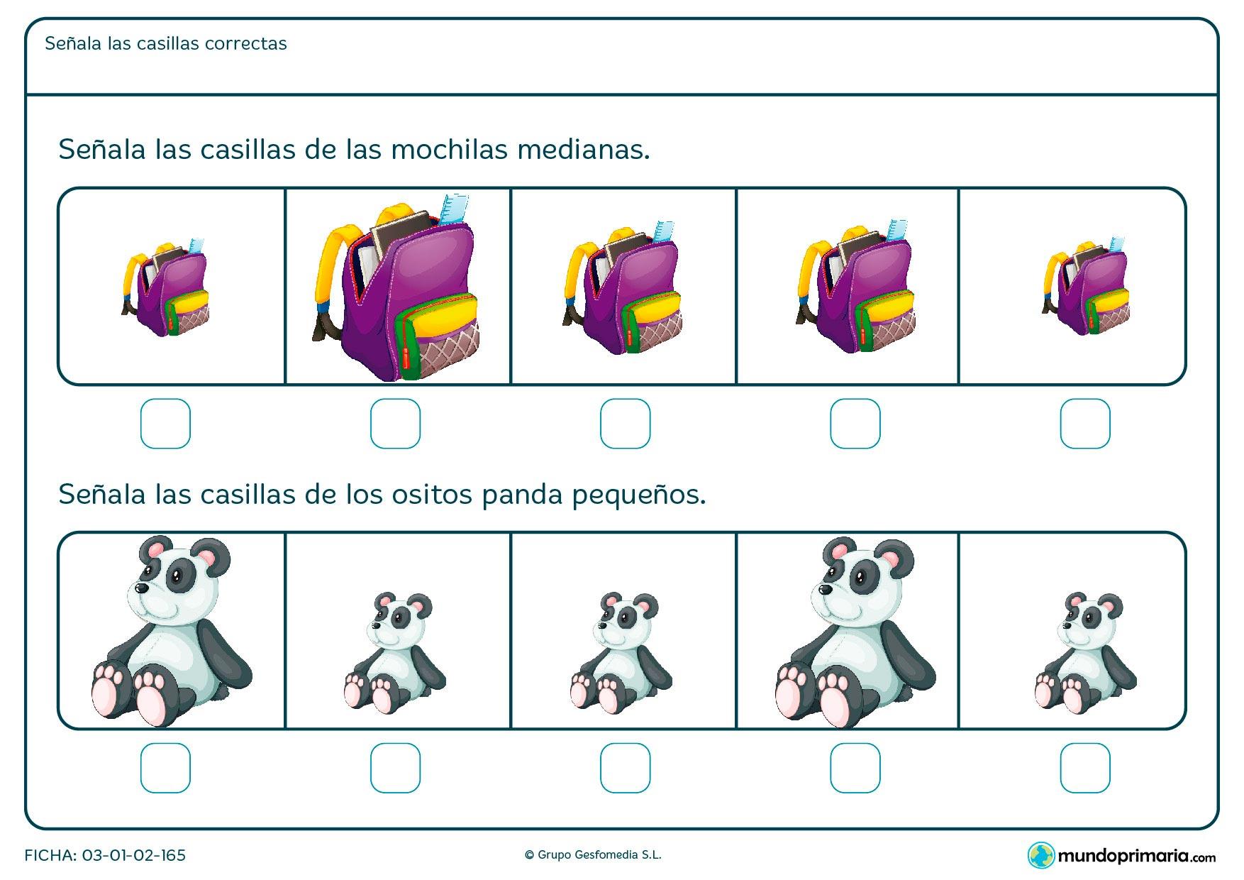 De los cinco dibujos ofrecidos en cada pregunta responde cuáles son las mochilas medianas y cuáles son los ositos panda pequeños.