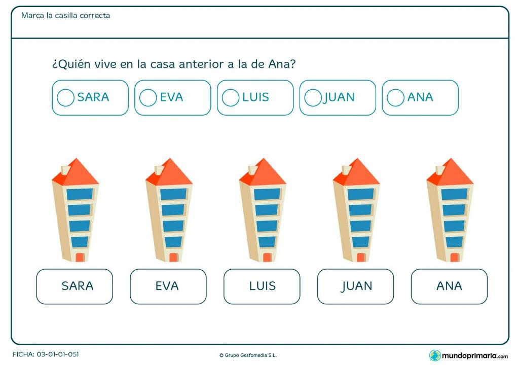 Ficha de contar posiciones para niños de 1º de Primaria.