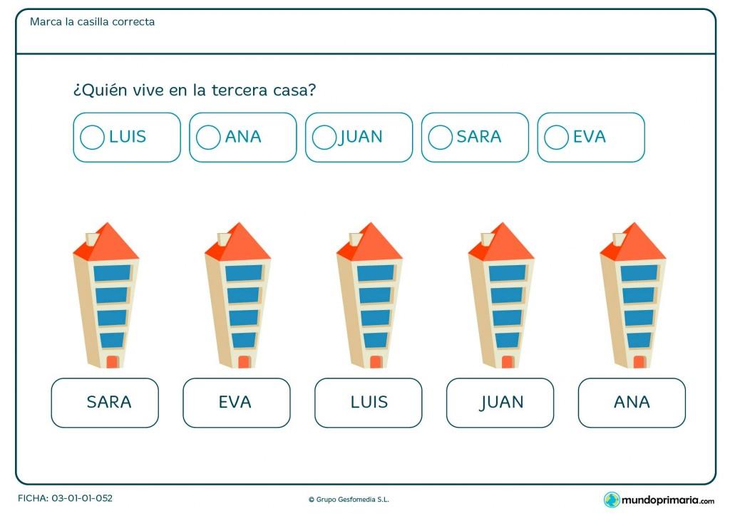 Ficha de números ordinales para niños de Primaria.