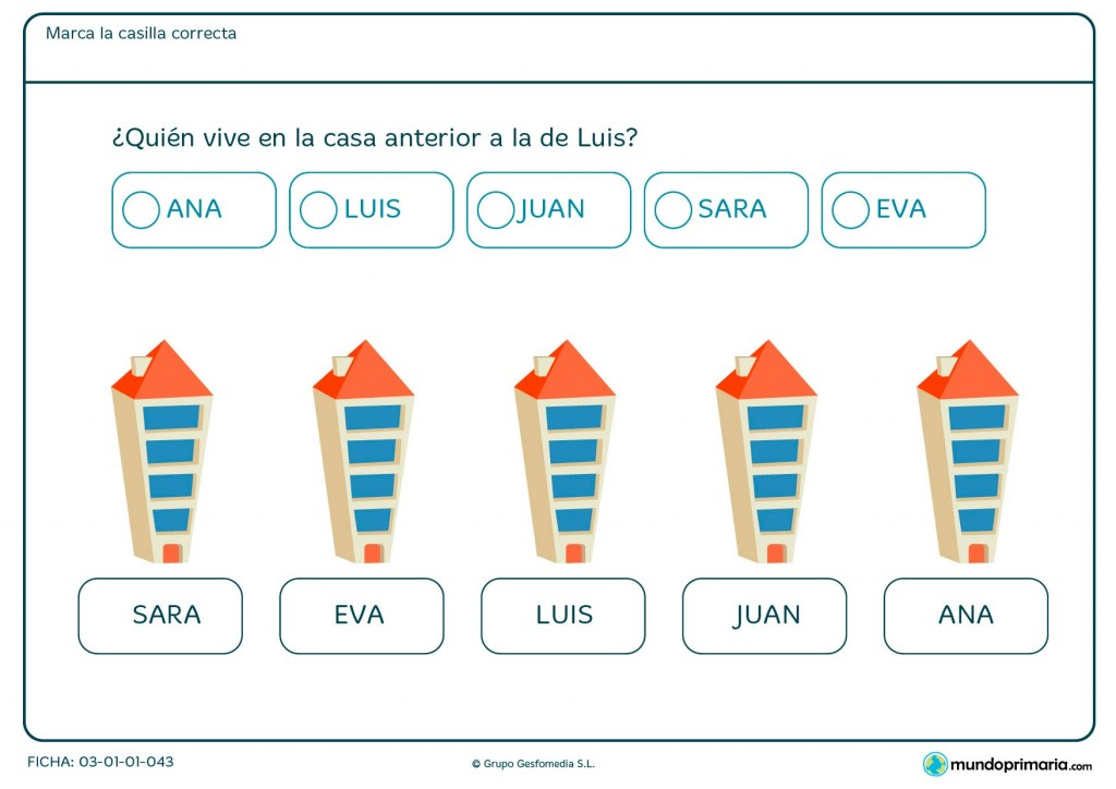Ficha de quién es el vecino de Luis para niños de Primaria.