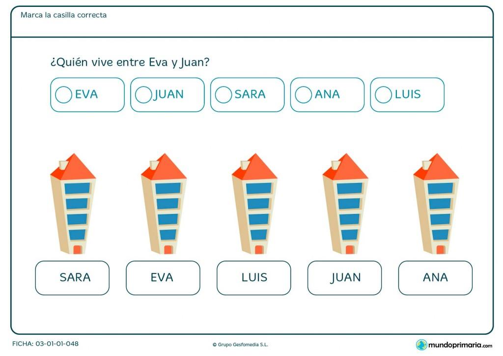 Ficha de contar qué persona vive entre Eva y Juan para Primaria.