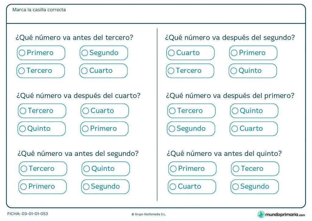 Ficha de numerales para 1º de Primaria.