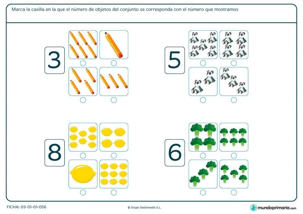Ficha de contar los objetos y señalar el número indicado para Primaria