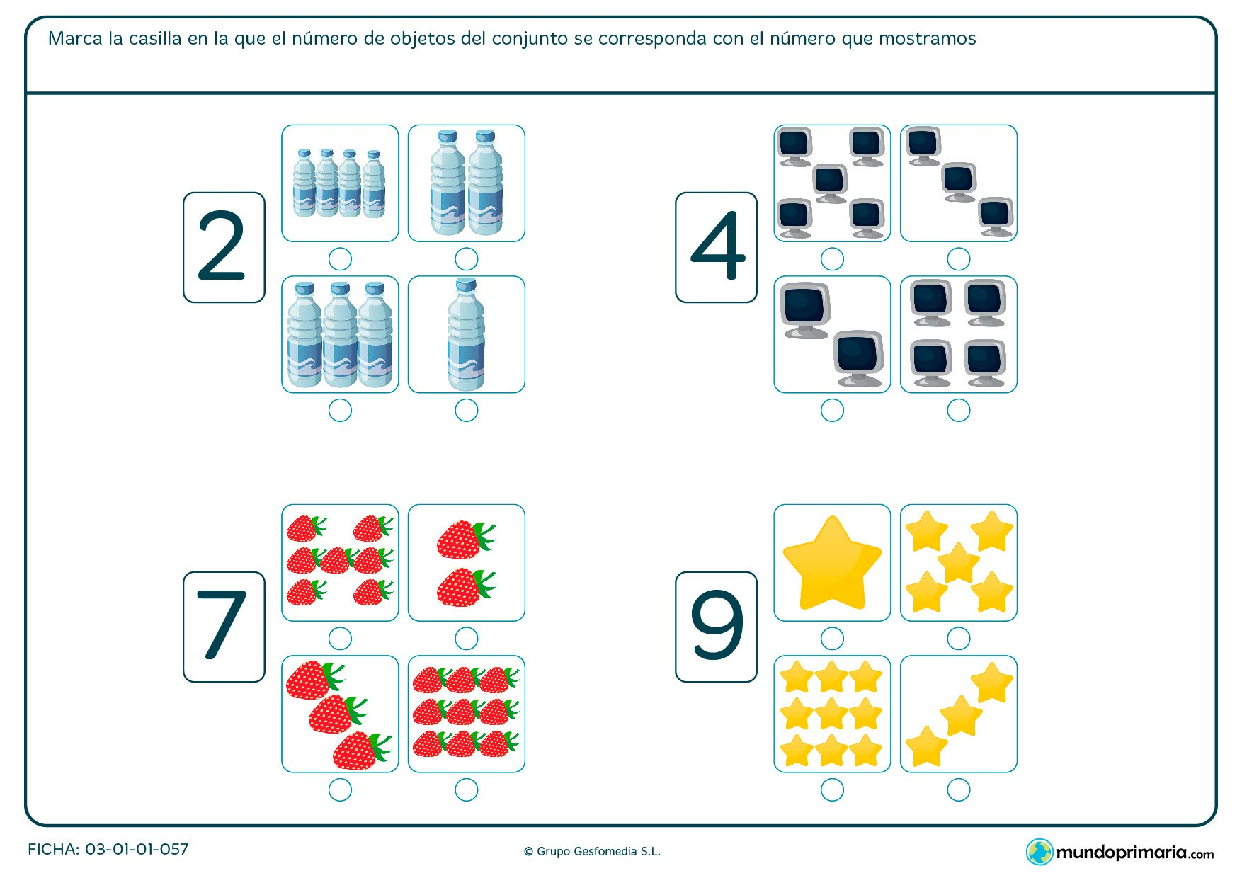 Ejercicios números enteros primero primaria