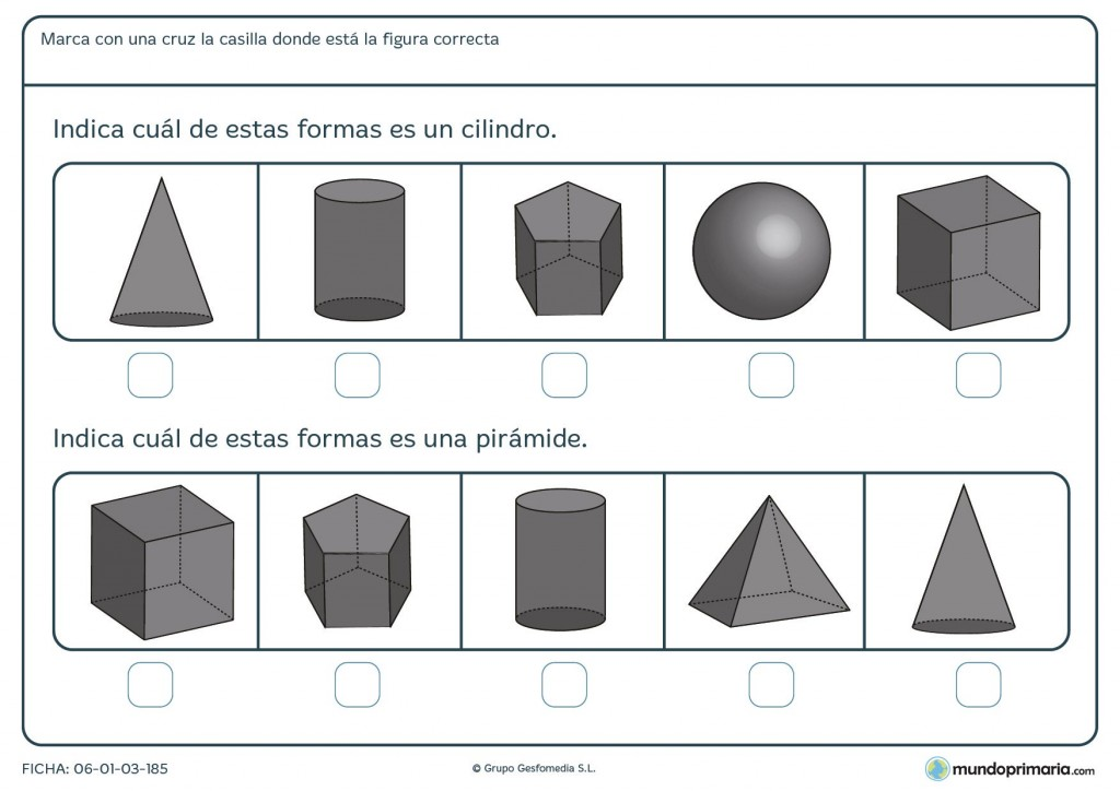Ficha de resolver las preguntas sobre formas para primaria