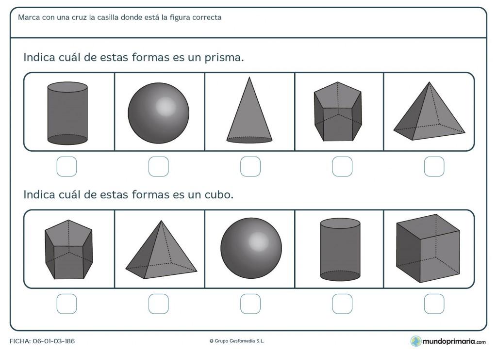 Ficha de solucionar las cuestiones sobre geometría para primaria