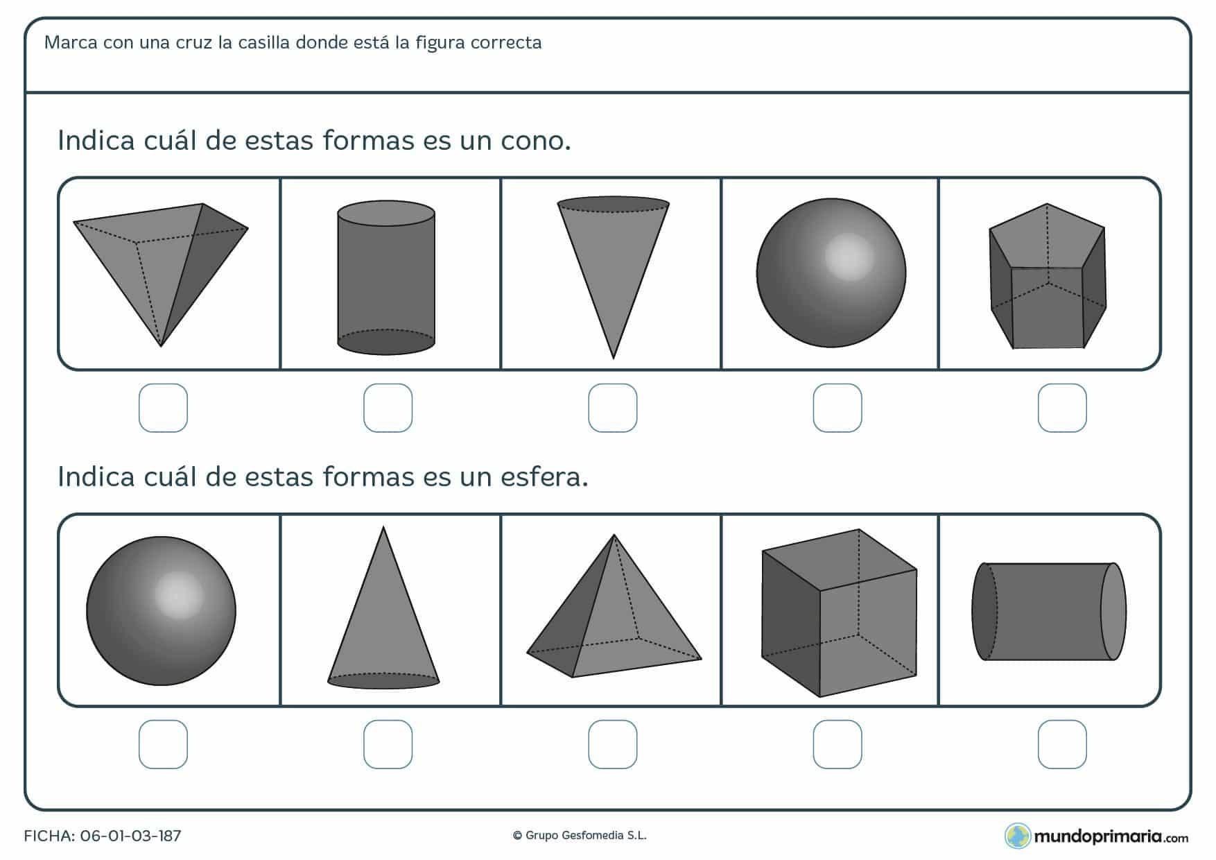 Ficha de indicar la solución correcta sobre formas para primaria