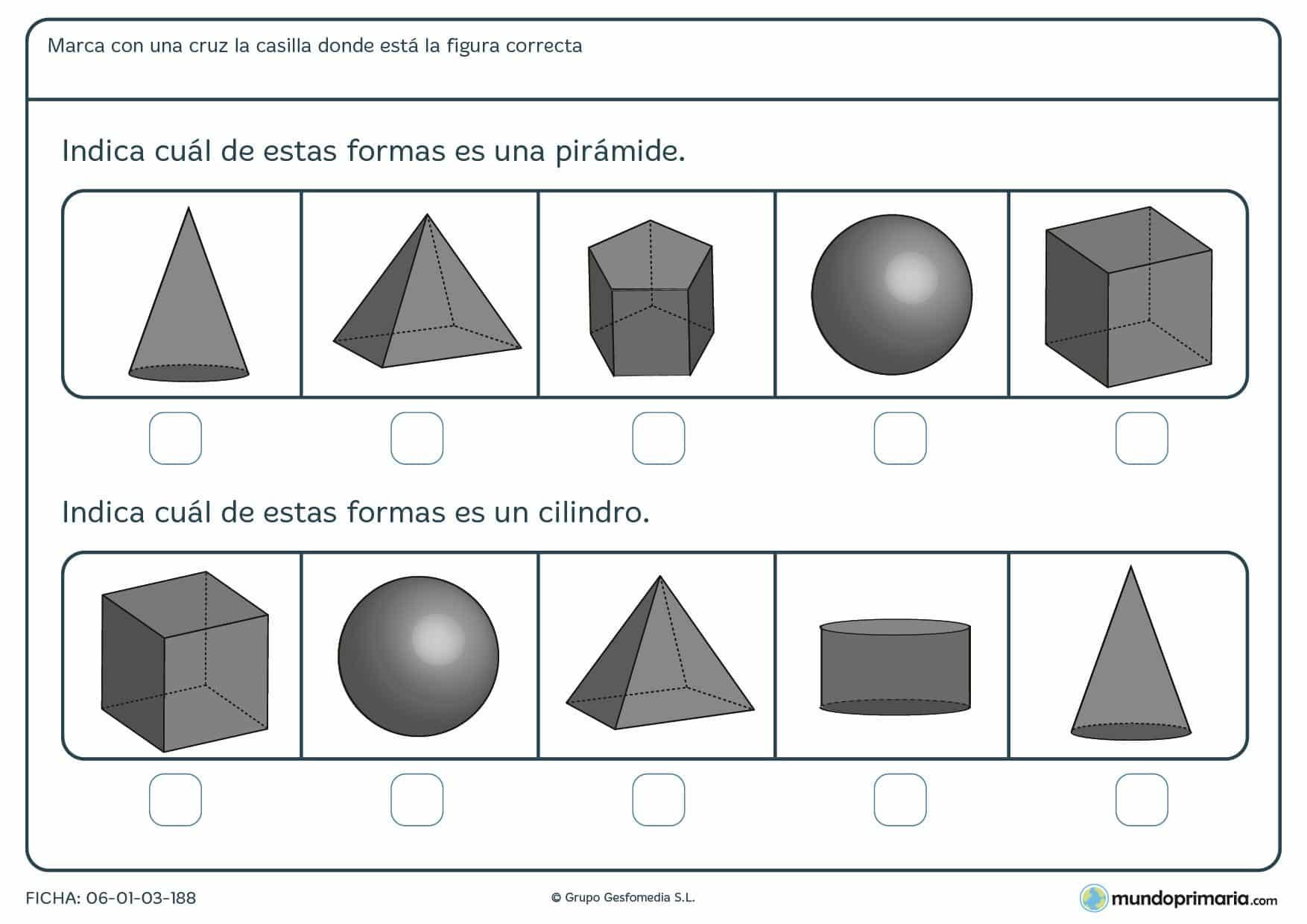 Ficha de geometría con preguntas para primaria