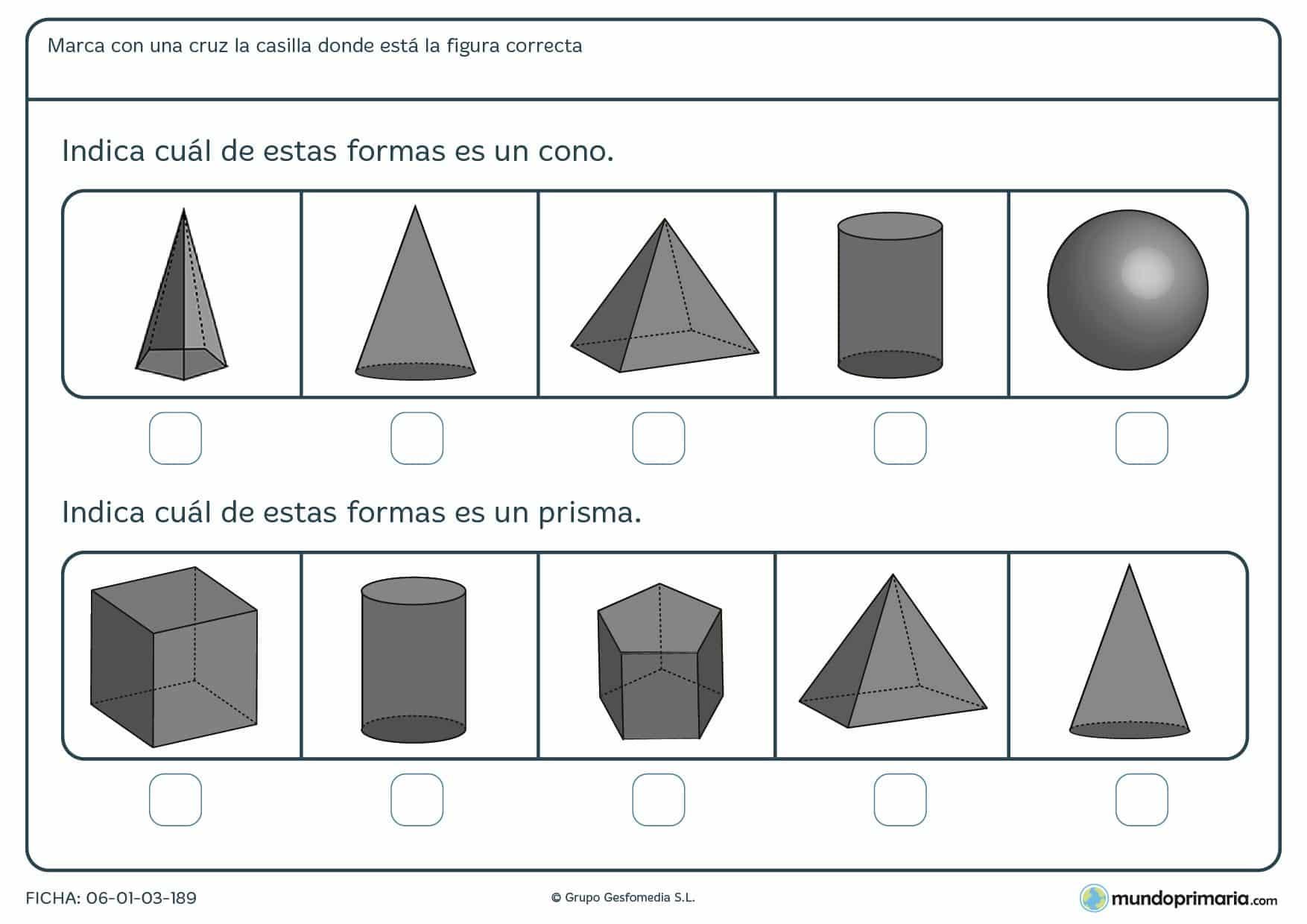 Ficha de resolver preguntas de geometría para primaria