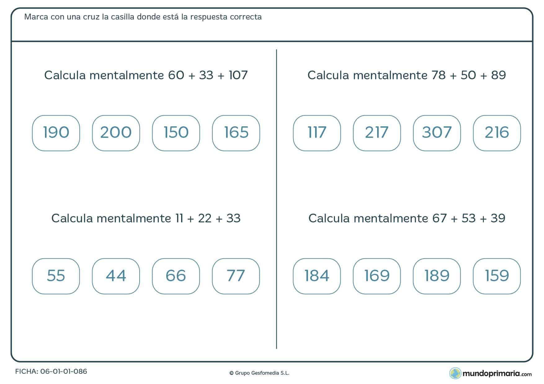 Sumas de tres números con cuatro soluciones a elegir una de ellas