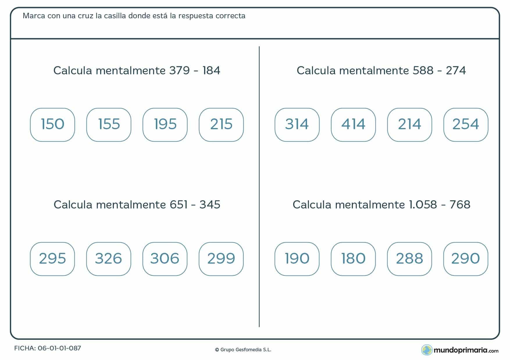 Restar números de tres y cuatro dígitos con la mente para primaria