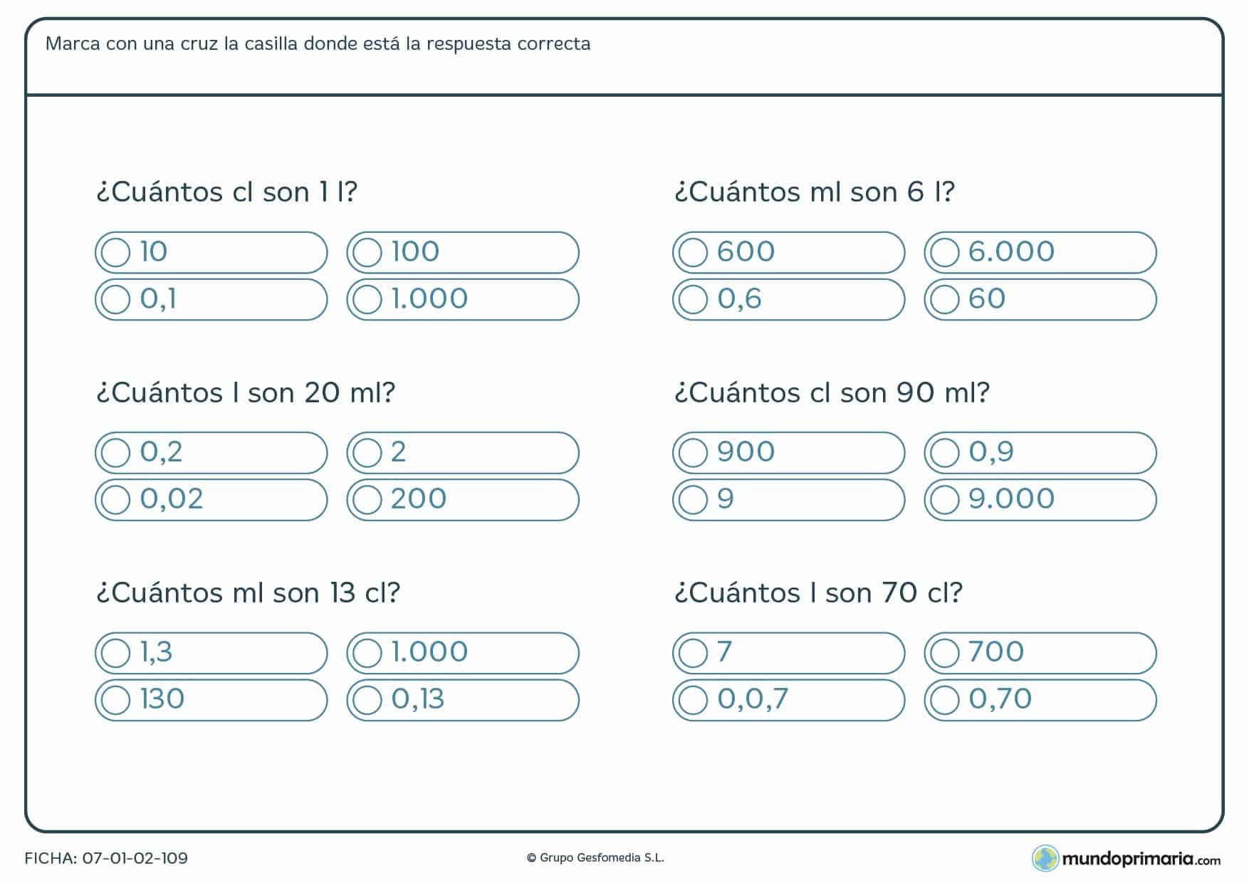 Ficha de equivalencias entre magnitudes para niños de 5º de Primaria