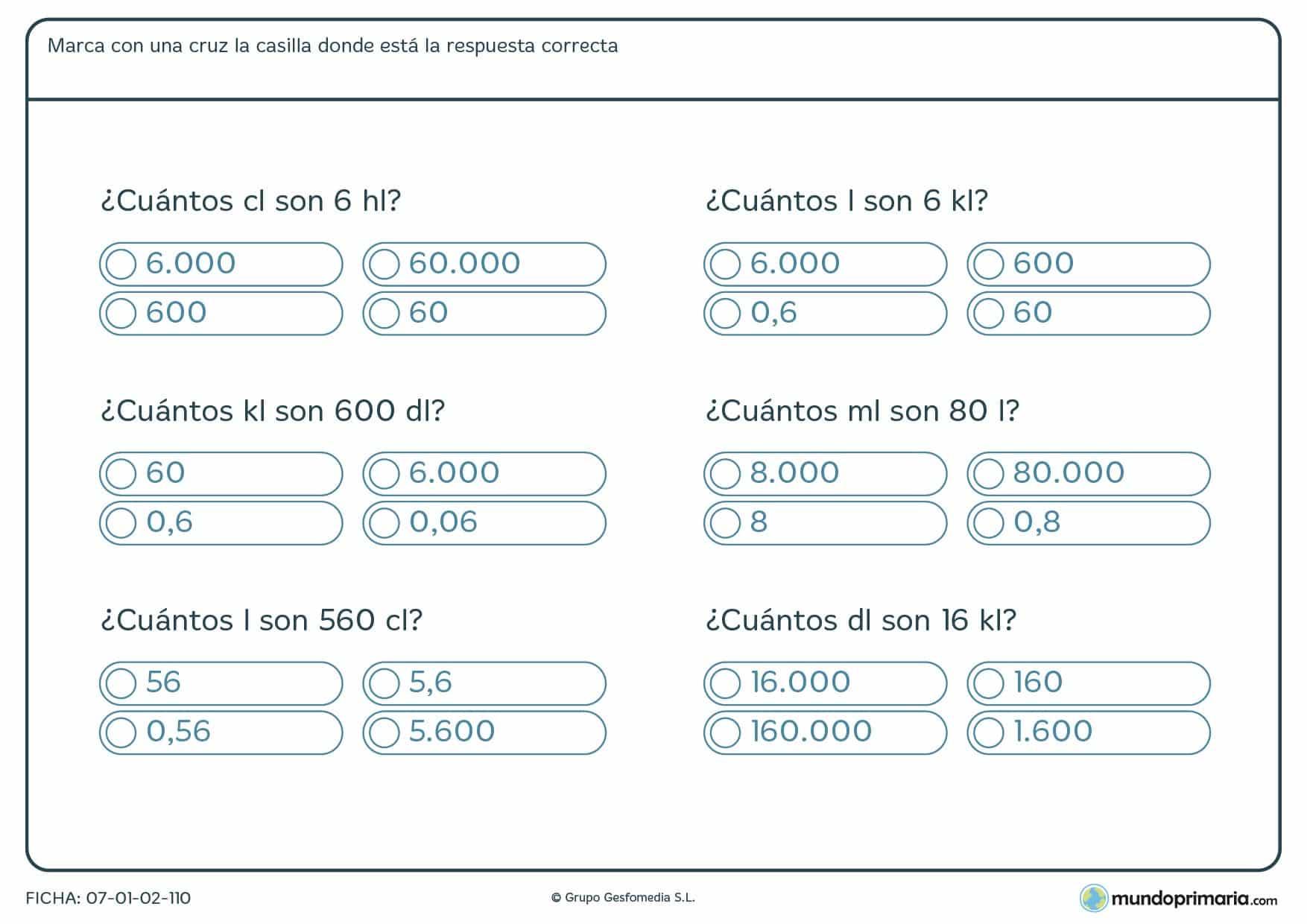 Ficha de pasar diferentes magnitudes de medida a otras para Primaria