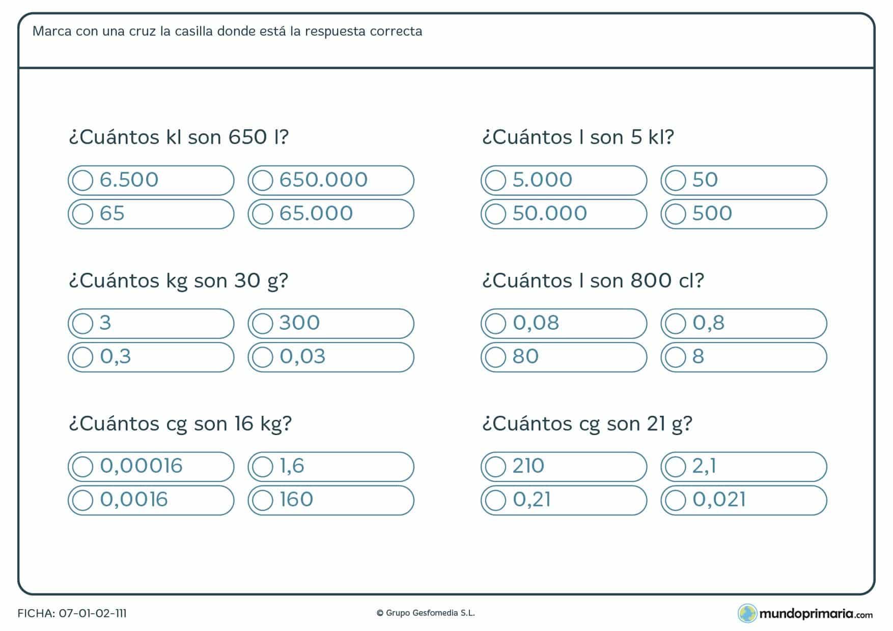 Ficha de igualdades entre unidades de medida para alumnos de Primaria