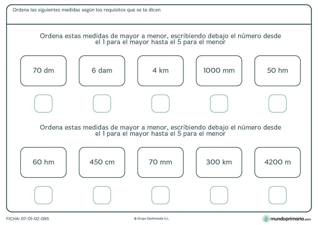 Ficha de ordenar las medidas de mayor a menor para los niños de 5º