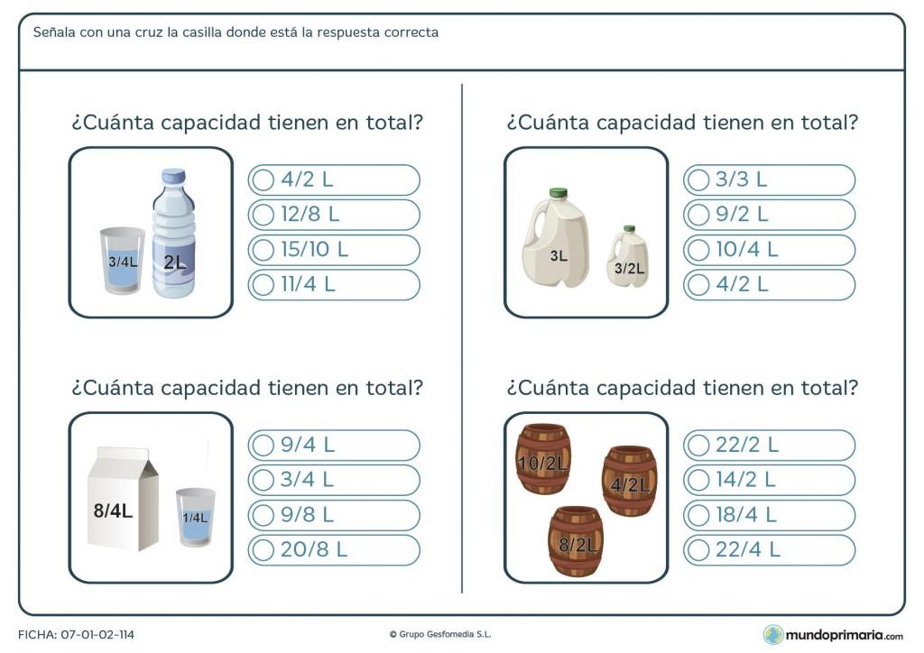 Ficha de sumar unidades de capacidad representadas en los dibujos