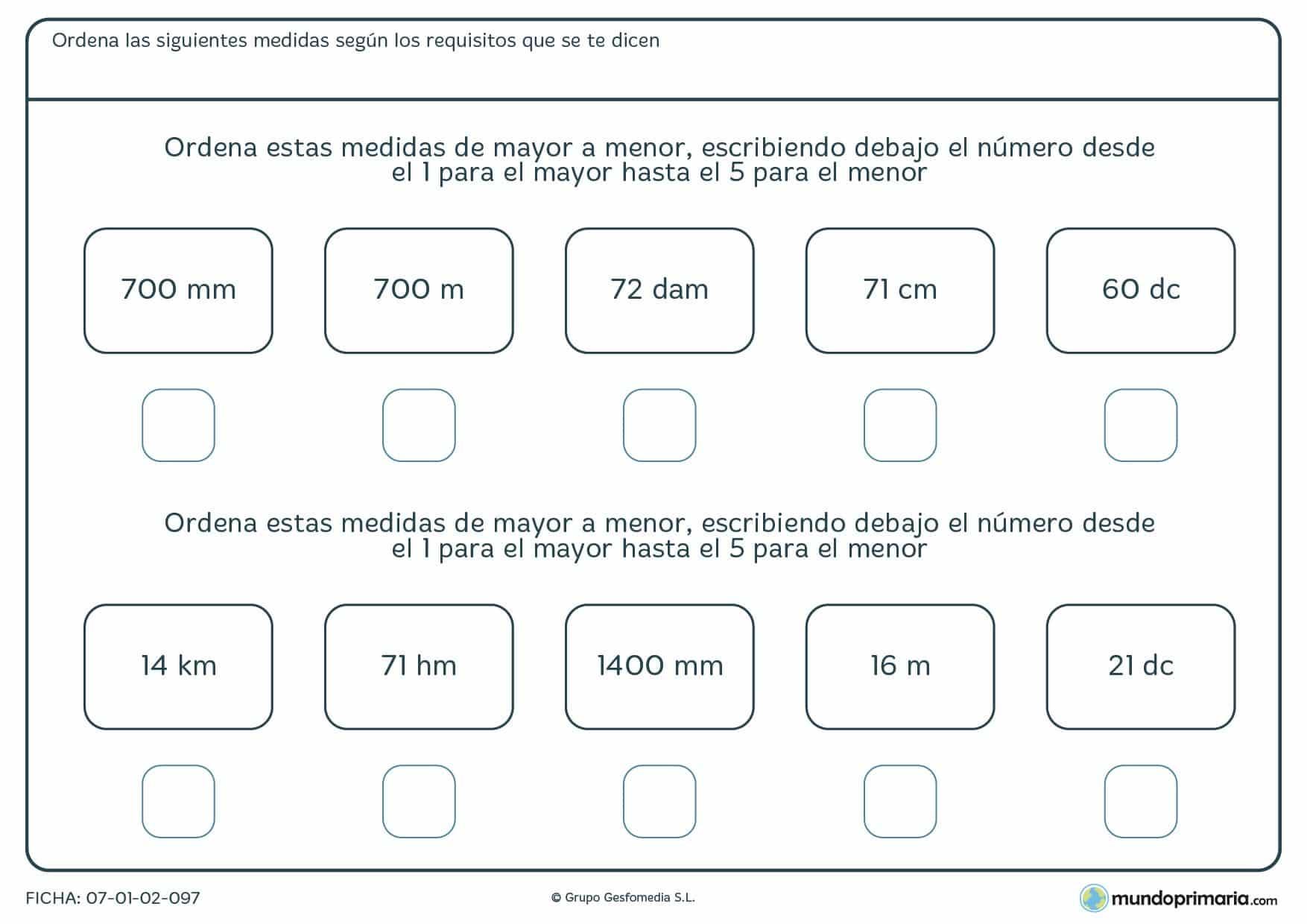 Ficha para 5º curso de Primaria de longitudes y distancias