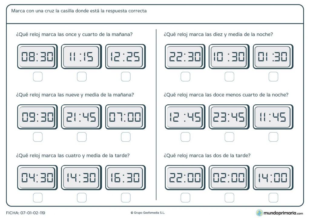 Ficha de responder a preguntas sobre horas y minutos para 5º Primaria