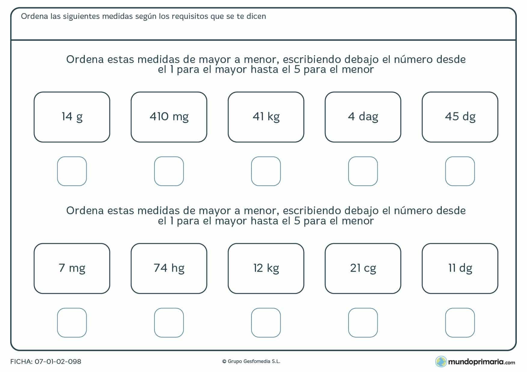 Ficha de clasificar las magnitudes de masa para alumnos de 5º curso