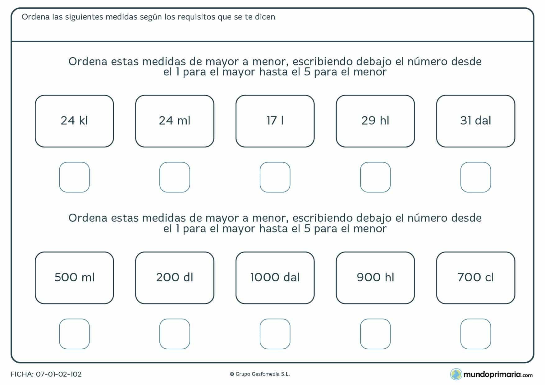 Ficha en la que hay que clasificar litros y sus diferentes unidades