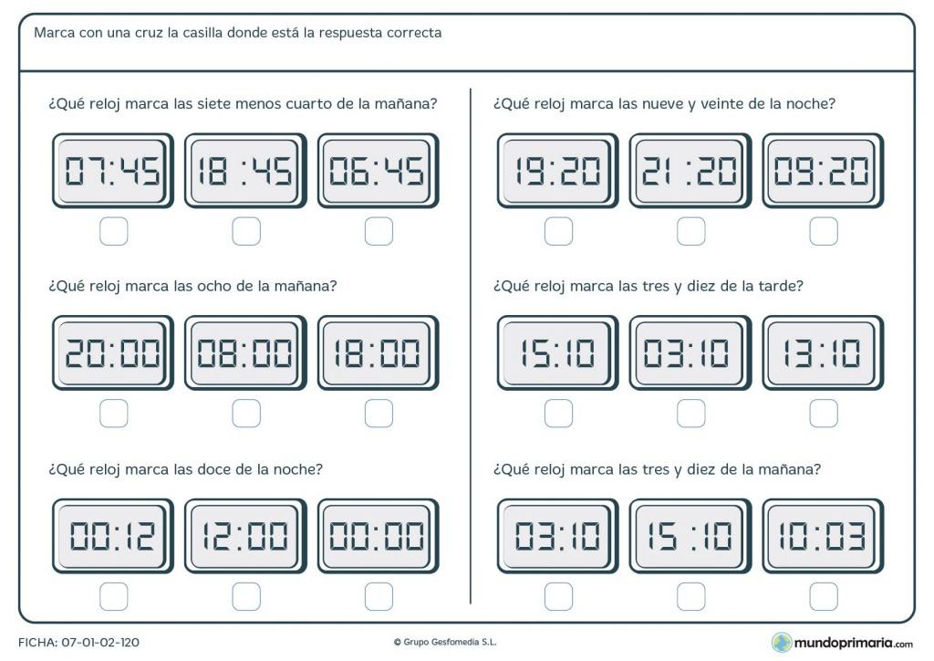 Ficha de encontrar horas en relojes digitales para 5º de Primaria